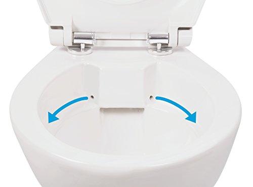 Stand-WC | Spülrandlos | Tiefspüler | Abgang waagerecht | Weiß | Toilette | Spülrandloses WC | Klo | Stand-WC | Randlos - 5