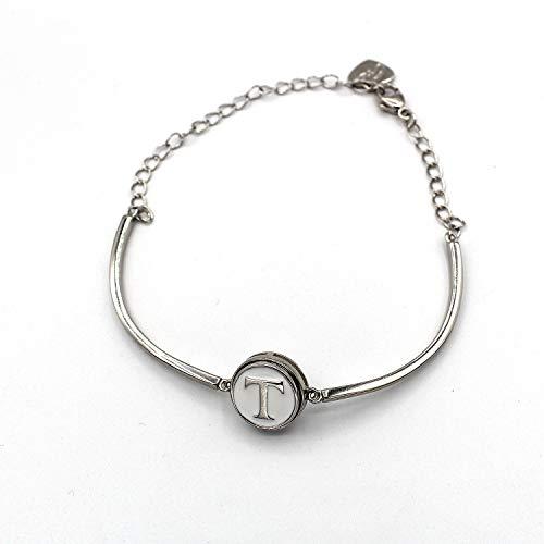 Halfronde armband met initialen (T) (12 mm) (sieraden).
