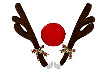 JUST BRIGHT Reindeer Car Kit – Rudolph Car Kit Includes Reindeer Antlers & Red Nose – Christmas Car Decorations for The Holidays – Decorate Any Vehicle Easy to Install