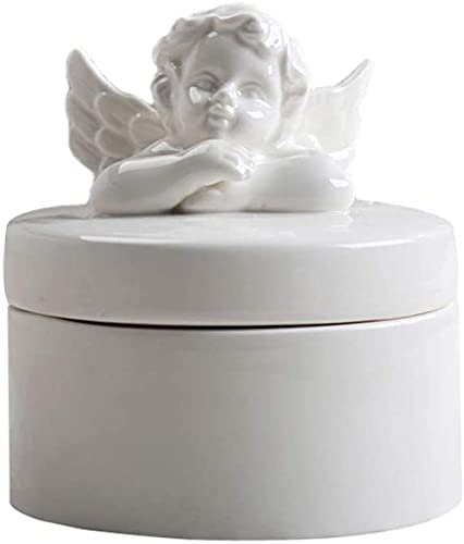 NaoSIn-Ni Ceramic Cremation Urns for Human Ashes or Pet Ashes Keepsake Memorial Burial Funeral Urn Butterfly and Angel Lid-A