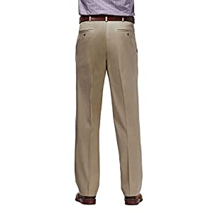 Haggar mens Premium No Iron Khaki Classic Fit Expandable Waist Flat Front Pant, Khaki, 38Wx29L
