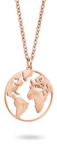 Nuoli® Kette Weltkugel Rosegold (45 cm) Weltkarte Halskette Damen und Herren