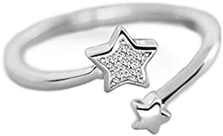 NewZenro CZ Double Star Open Ring for Women Teen Girls S925 Sterling Silver Dainty Adjustable Statement Engagement Cute Ti...