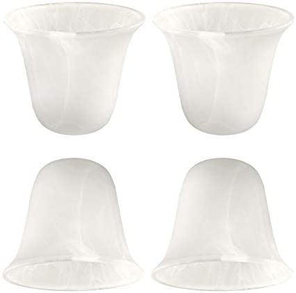 Eumyviv 4 Pack Bell Shaped Alabaster Glass Lamp Shade Replacement with 1 5 8 inch Fitter Opening product image