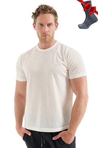 Merino.tech 100% lana merino orgánica ligera camiseta térmica para hombre + calcetines de lana de senderismo - - Large