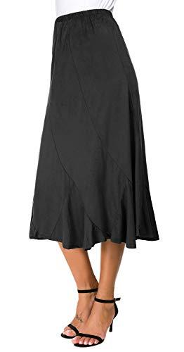 EXCHIC Jupe Mi-Longue Taille Haute Asymétrique Vintage Femme (S, Noir)