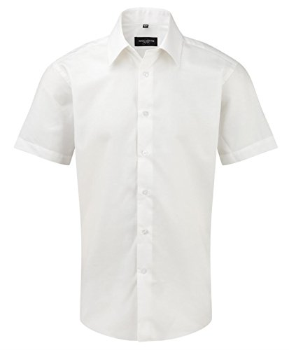 Russell Collection Men's Tailored Oxford Short Sleeve Shirt White 15.5