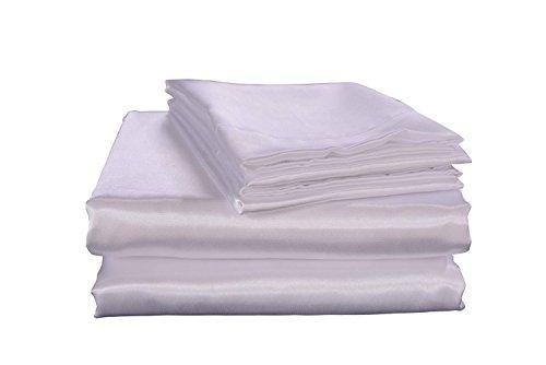 N/A Effen kleur Simulatie Zijde Satijn Kleur Satijn Doek Thuis Textiel Zijde Bed Li Vier Stuk Set Wit