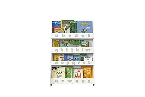 Tidy Books ® - Bücherregal Kinder | Weiß graues Alphabet | Wandregal Kinderzimmer mit Holzbuchstaben | Montessori Material | 115 x 77 x 7 cm | Handgefertigt | Nachhaltig | Das Original seit 2004