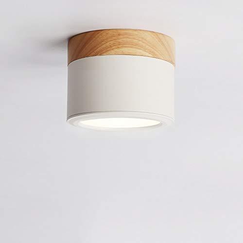 Zkciss Focos LED de techo Foco de arte de madera Downlights montados en superficie Ideal for pasillo Galería Cocina y sala de estar Luz blanca de 5W [Clase energética A ++] (Color : White-SMD)