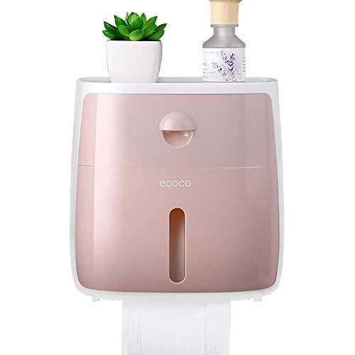 Portarrollos para Papel Higiénico Toallero de Papel, Prueba de Agua Dispensador de pañuelos de baño montado en la Pared Caja de pañuelos para Toallas de Papel con cajón