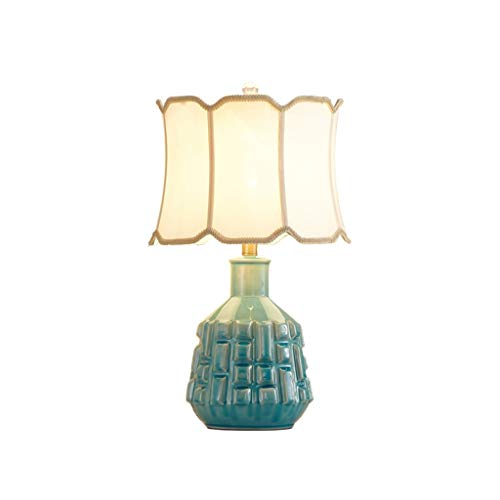 YI0877CHANG Lamparilla de Noche Moderna Lámpara de Mesa Creativa Dormitorio Sala de Estar Iluminación Lámpara de Mesa Lámpara de Cerámica Verde Lino Cuerpo Pantalla Lámpara Mesilla (Color : A)