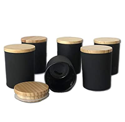 Candle Making Jar 6 Pack 6oz Matte Black with Wood Lid from California Candle Supply