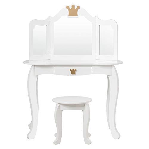 Giantex Tocador infantil con taburete, espejo extraíble, mesa de maquillaje con cajón, tocador para niñas, de madera, color blanco