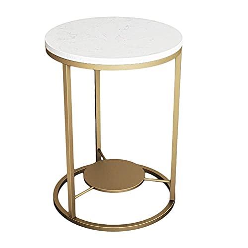 Mesa de centro simple creativa redonda sofá lateral mármol mesa marco de hierro forjado para café/dormitorio/oficina/sala de estar/comedor (oro) (tamaño: 50 x 55 cm)