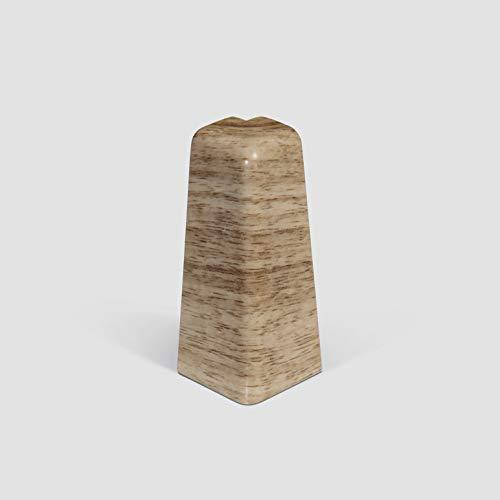 EGGER Außenecke Sockelleiste Eiche beige für einfache Montage von 60mm Laminat Fußleisten   Inhalt 2 Stück   Kunststoff robust   Holz Optik hell braun