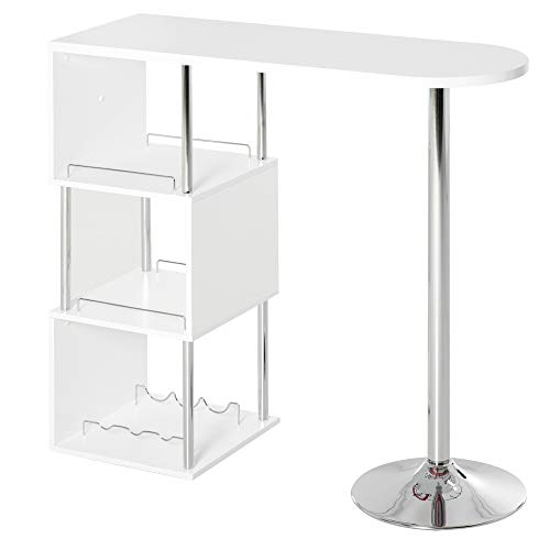 HOMCOM Modern Bar Table Accent Console Serving Buffet with 3-Bottle Wine Rack and Side Storage Shelf, White/Silver
