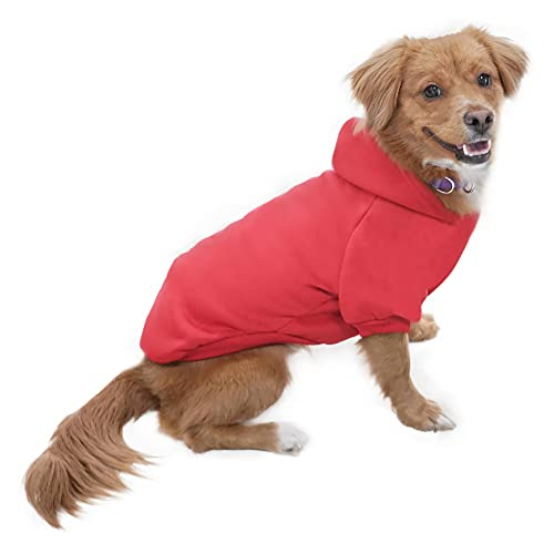 Eastlion Sweat à Capuche Chaud Coton Sweatshirt pour Chiens Pet Pull Vêtements Veste pour Chien Manteau Jumpsuit Costume,Rouge S