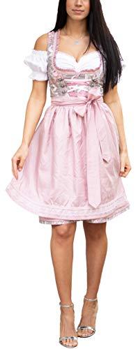 Golden Trachten-Kleid Dirndl Damen 3 TLG, Midi für Oktoberfest, mit Schürze und Bluse, Taupe 537GT (36)