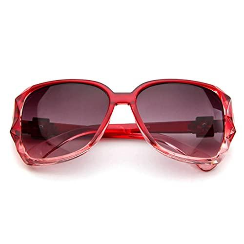 Tree-es-Life Gafas de Sol de Metal Moda Mujer euroamericana Gafas solares Retro Gafas clásicas Gafas de Sol Casuales Rojo-Gris