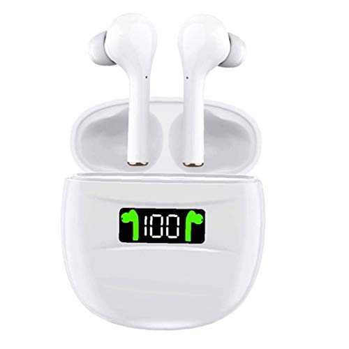 YepYes Inalámbrica Bluetooth Auricular, Auriculares inalámbricos Auriculares J3 Pro Blanca de Carga del Caso LED Display 50H para Ejecutar Office