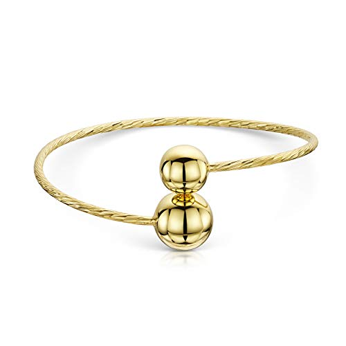 Amberta Gold Plated on 925 Sterling Silver - Open Cuff Bangle Bracelet for Women - Diamond Cut - Ball Ends - Adjustable from 7 to 8.5' inch