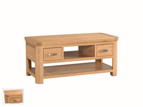 The One biseau Naturel en chêne Massif Standard de Stockage de Table Basse avec étagères et 2 tiroirs – Finition : Chêne Clair – Meuble de Salon