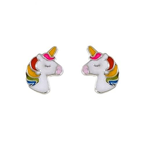 Minoplata Pendientes para niñas unicornio de Plata de ley 925 con cierre tuerca rosca bebé un diseño de moda ideal para regalar