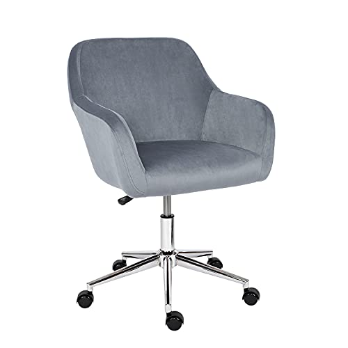 Desk Chair,Velvet Computer Chair Mid Back Office Swivel Chair Executive Chair Adjustable Height Comfy Padded Leisure Chair Armrest Chair,Home/Office Furniture (Dark Gray)