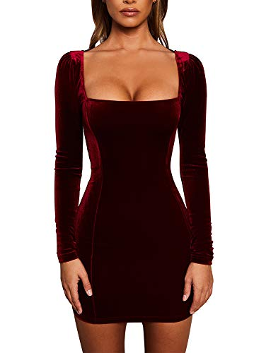 GOBLES Womens Sexy Velvet Long Sleeve Bodycon Elegant Mini Party Dress Wine Red