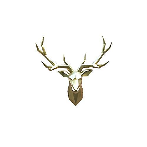 JZSGY Rotwild-Kopf-Dekoration Wandbehang - Tierkopf Wandbehang Harz Rotwild-Kopf-Hauptdekor - Kreative Restaurant Kleidung Shop-Wand-Kunst-Dekoration Skulptur Anhänger Wandhalterung (Farbe : Gold)