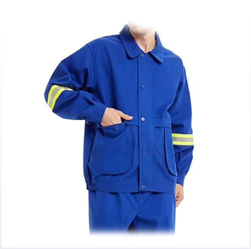 NHY Ropa de Trabajo de la Chaqueta, Chaqueta de Soldadura, Paño ignífugo de Llama Respirable Conozca la tecnología Prevención de Incendios ignífugos,Azul,XL