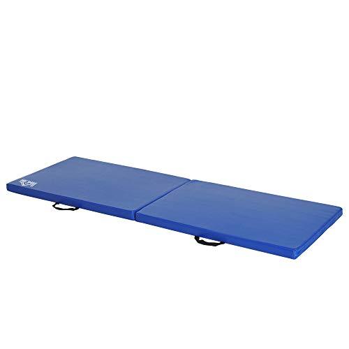 HOMCOM Tapis de Gymnastique Yoga Pilates Fitness Pliable Portable Grand Confort 180L x 60l x 5H cm revêtement synthétique Bleu