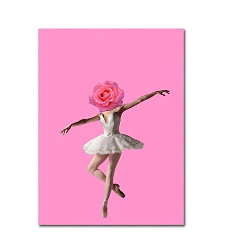 Aymsm Nordischen Stil Dekor Leinwand Ballerina EIS Malerei Flamingos Bilder Home Wand Kunstdrucke Aquarell Modulare Schlafzimmer Poster 45x60 cm Rahmenlose