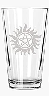 Brindle Southern Farms Supernatural: Anti-Possession Symbol - Etched Pint Glass, Clear