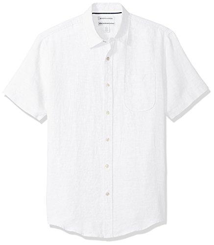 Amazon Essentials Herren Leinenhemd Slim-Fit Kurzarm , White, US XL (EU XL - XXL)