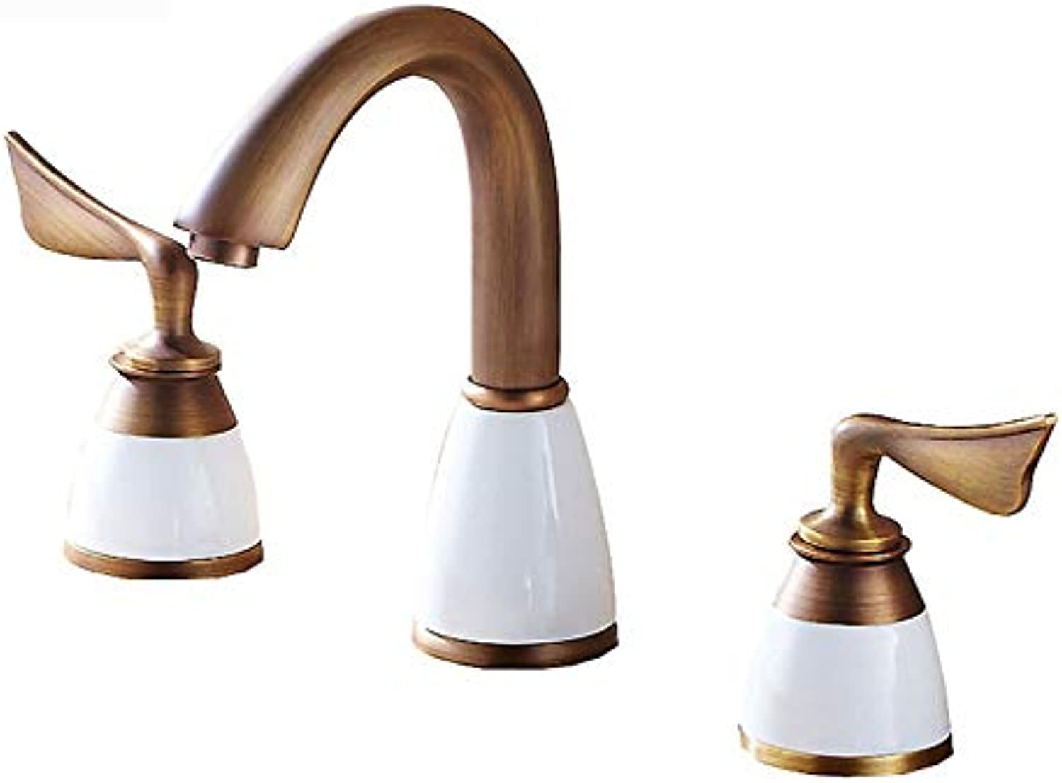 redOOY Taps Faucet Basin Mixer Full Copper Three-Hole Split Basin Bathroom Cabinet Wash Basin Hot And Cold Water Mixer Tap D