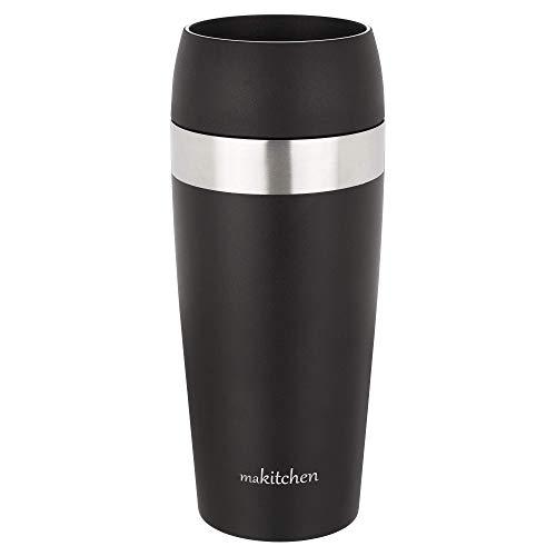 makitchen Thermobecher spülmaschinenfest 420ml schwarz | Kaffeebecher für Coffee to go 100% auslaufsicher | Edelstahl Trinkbecher mit Deckel | Isolierbecher doppelwandig Vakuum-isoliert | Travel-Mug