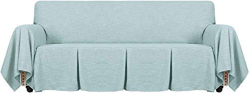 Funda De Sofá De Lino De 1 Pieza Fundas De Sofá Universales para Sofá De 2 Cojines Funda para Sala De Estar Funda Protectora para Muebles con Volantes (Azul Claro,3 plazas(180-230cm))