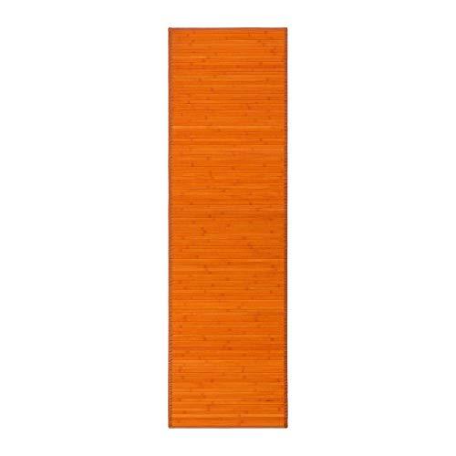 Alfombra pasillera de bambú Naranja de 200x60 cm - LOLAhome