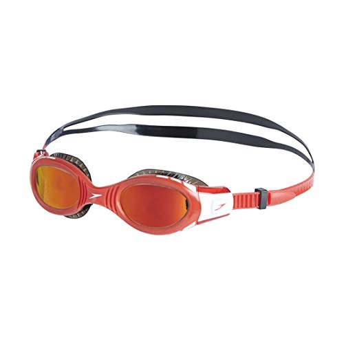 Speedo Kinder Schwimmbrille Futura Biofuse Flexiseal Mirror Junior, Schwarz/Lava Rot/Orange Gold, One Size, 811593C504