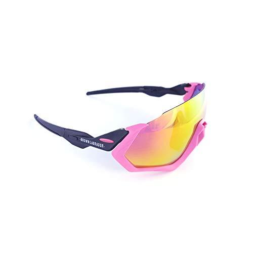 Brown Labrador Polarisierte Radsportbrille + REVO, 5 UV 400 Wechselgläser, Sportbrillen, Lauftraining, BTT, Triathl (pink)