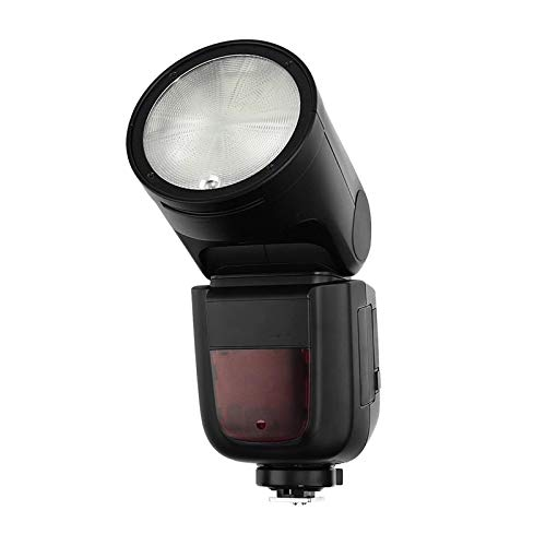 CuteLife Flash Speedlite Cámara Flash Speedlite Speedlight Cabeza Redonda Inalámbrica 2.4G (Color : Black, Size : UK)