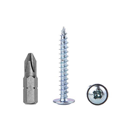 Confezione da 150 pezzi in acciaio zincato 4,0 x 30 mm viti per legno, viti in metallo, testa modificata, autofilettante (150, 4,0 x 30 mm)