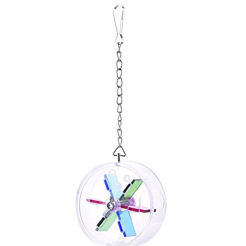 Creative Pet Parrot Bird Foraging Systems Foraging Wheel Window Bird Feeder Toy for Parrot Budgie Parakeet Amazon Lovebird Finch Canary Cage (C)
