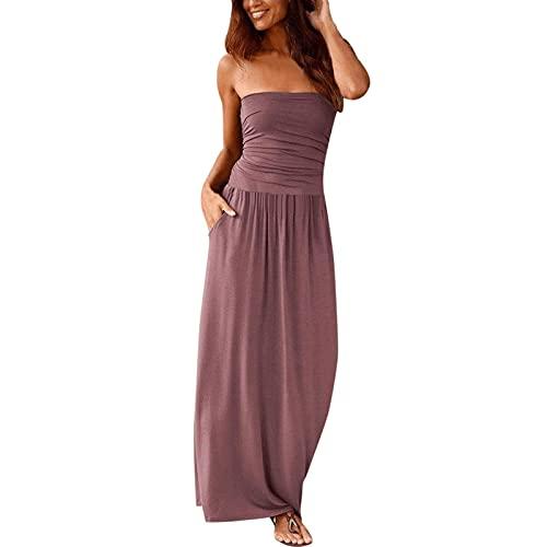 Damskie Off The Ramię Maxi Sukienki Letnie Bez Ramiączek Bandeau Długa sukienka z bocznymi kieszeniami Letnie ubrania na co dzień (Color : Pink, Size : Large)