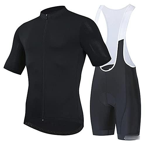 Traje de Ciclismo Hombre, Conjunto de Camiseta de Manga Corta MTB Transpirable para Verano y Otoño, Jersey + Pantalones Cortos y Babero Acolchado para Ciclismo Deportes a(Size:6X-Large,Color:Negro)