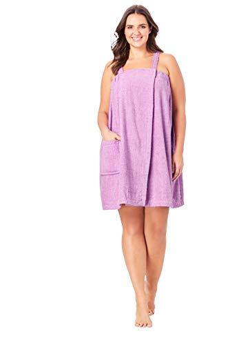 Dreams & Co. Women's Plus Size Terry Towel Wrap Robe - 14/16, Light Orchid