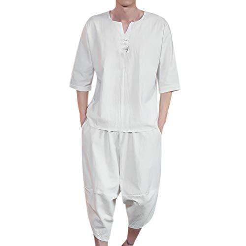 T-Shirt Top Shorts Anzug Männer Sommermode Lässig Bequem Hanf Kurzarm (Top + Hose) (3XL,2weiß)