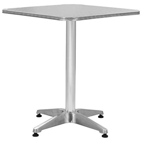 vidaXL Gartentisch Bistrotisch Balkontisch Terrassentisch Alutisch Stehtisch Bartisch Esstisch Gartenmöbel Tisch Silbern 60x60x70cm Aluminium